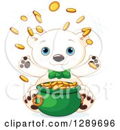 Clipart Of A Cute St Patricks Polar Bear Leprechaun Tossing Gold Coins Over A Pot Royalty Free Vector Illustration