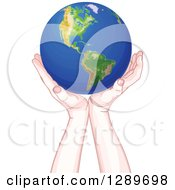 Clipart Of Caucasian Hands Holding Up Planet Earth Royalty Free Vector Illustration by Pushkin