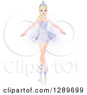 Blond Caucasian Woman Dancing Ballet In A Crown And Tutu Over Faint Purple