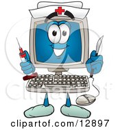 Clipart Picture Of A Desktop Computer Mascot Cartoon Character Nurse With A Knife And Syringe by Toons4Biz