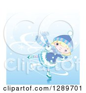 Clipart Of A Blond Caucasian Girl Ice Skating In The Winter Royalty Free Vector Illustration