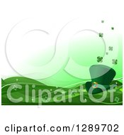 Clipart Of A Green And White St Patricks Day Background Of A Leprechaun Top Hat Shamrocks And Waves Royalty Free Vector Illustration by Pushkin