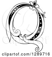 Clipart Of A Black And White Vintage Floral Capital Letter Q Royalty Free Vector Illustration