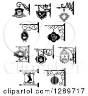 Clipart Of Black And White Storefront Shingle Signs Royalty Free Vector Illustration