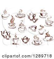 Clipart Of Two Toned Brown And Steamy Coffee Cups And Pots Royalty Free Vector Illustration