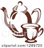Clipart Of A Brown And White Coffee Cup And Pot Royalty Free Vector Illustration