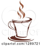 Clipart Of A Two Toned Brown And White Steamy Coffee Cup On A Saucer 27 Royalty Free Vector Illustration