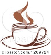 Clipart Of A Two Toned Brown And White Steamy Coffee Cup On A Saucer 29 Royalty Free Vector Illustration