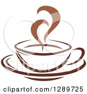 Clipart Of A Two Toned Brown And White Steamy Coffee Cup On A Saucer 22 Royalty Free Vector Illustration