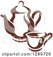Clipart Of A Brown And White Coffee Cup And Pot 2 Royalty Free Vector Illustration