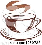 Clipart Of A Two Toned Brown And White Steamy Coffee Cup On A Saucer 23 Royalty Free Vector Illustration