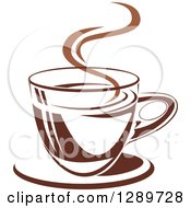 Clipart Of A Two Toned Brown And White Steamy Coffee Cup On A Saucer 24 Royalty Free Vector Illustration