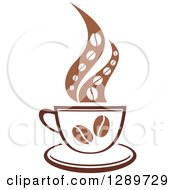 Clipart Of A Two Toned Brown And White Steamy Coffee Cup With Beans On A Saucer Royalty Free Vector Illustration