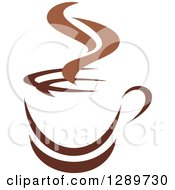 Clipart Of A Two Toned Brown And White Steamy Coffee Cup On A Saucer 26 Royalty Free Vector Illustration