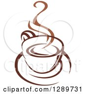 Clipart Of A Two Toned Brown And White Steamy Coffee Cup On A Saucer 25 Royalty Free Vector Illustration