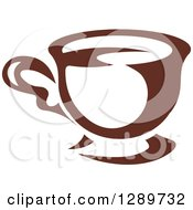 Clipart Of A Dark Brown And White Fancy Coffee Cup Royalty Free Vector Illustration