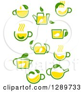 Poster, Art Print Of Green And Yellow Tea Cups And Pots With Leaves 5