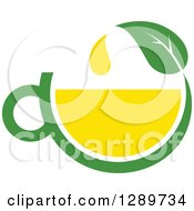 Poster, Art Print Of Green And Yellow Tea Cup With A Leaf 7