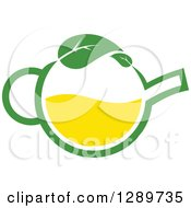 Clipart Of A Green And Yellow Tea Pot With Leaves 10 Royalty Free Vector Illustration
