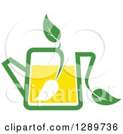 Clipart Of A Green And Yellow Tea Pot With Leaves 8 Royalty Free Vector Illustration