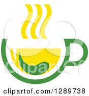 Clipart Of A Green And Yellow Tea Cup With A Leaf 9 Royalty Free Vector Illustration by Vector Tradition SM