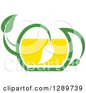 Clipart Of A Green And Yellow Tea Pot With Leaves 9 Royalty Free Vector Illustration