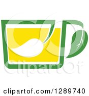 Poster, Art Print Of Green And Yellow Tea Cup With A Leaf 10
