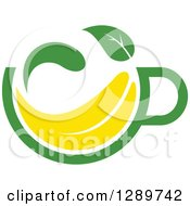 Poster, Art Print Of Green And Yellow Tea Cup With A Leaf 12