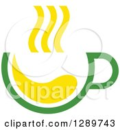 Poster, Art Print Of Green And Yellow Tea Cup With Steam 2