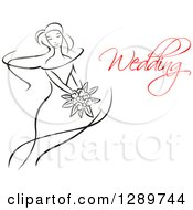 Clipart Of A Sketched Black And White Bride Holding A Bouquet Of Flowers With Red Wedding Text Royalty Free Vector Illustration