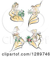 Clipart Of Sketched Blond Caucasian Brides In Yellow Dresses Holding Bouquets Of White Pink And Red Flowers Royalty Free Vector Illustration