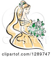 Clipart Of A Sketched Blond Caucasian Bride In A Yellow Dress Holding A Bouquet Of White Flowers Royalty Free Vector Illustration