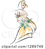 Clipart Of A Sketched Blond Caucasian Bride In A Yellow Dress Holding A Bouquet Of Pink Flowers Royalty Free Vector Illustration