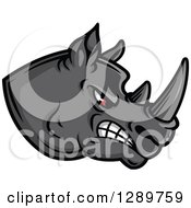 Clipart Of An Aggressive Red Eyed Gray Rhino Head Facing Right Royalty Free Vector Illustration