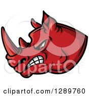 Clipart Of An Aggressive Red Rhino Head Facing Left Royalty Free Vector Illustration by Seamartini Graphics