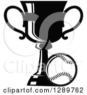 Clipart Of A Black And White Softball Or Baseball By A Sports Championship Trophy Royalty Free Vector Illustration by Vector Tradition SM