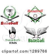 Clipart Of Baseball Sports Designs With Text 3 Royalty Free Vector Illustration