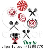 Clipart Of Bullseye Target Dartboards Throwing Darts A Trophy And Text Royalty Free Vector Illustration by Vector Tradition SM