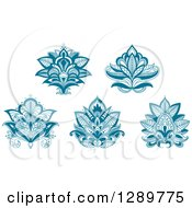 Clipart Of Beautiful Teal Henna Lotus Flowers Royalty Free Vector Illustration
