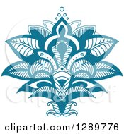 Clipart Of A Beautiful Teal Henna Lotus Flower Royalty Free Vector Illustration