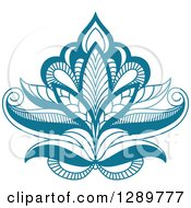 Clipart Of A Beautiful Teal Henna Lotus Flower 2 Royalty Free Vector Illustration