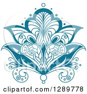 Clipart Of A Beautiful Teal Henna Lotus Flower 3 Royalty Free Vector Illustration