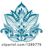 Clipart Of A Beautiful Teal Henna Lotus Flower 4 Royalty Free Vector Illustration