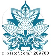 Clipart Of A Beautiful Teal Henna Lotus Flower 5 Royalty Free Vector Illustration
