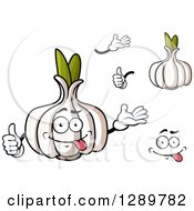 Clipart Of Garlic Bulbs Hands And A Face Royalty Free Vector Illustration