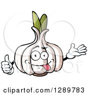 Clipart Of A Goofy Garlic Character Presenting And Giving A Thumb Up Royalty Free Vector Illustration