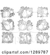Clipart Of Black And White Fruit Designs Of Pumpkins Apples Pomegrantes Grapes And Pears Royalty Free Vector Illustration