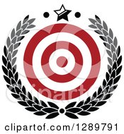 Clipart Of A Red And White Bullseye Target For Archery Or Throwing Darts In A Black Wreath With A Star Royalty Free Vector Illustration by Vector Tradition SM