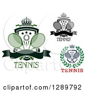 Clipart Of Wreath And Shield Tennis Ball And Racket Designs Royalty Free Vector Illustration