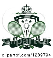 Clipart Of A Black And White Crown Blank Banner And Tennis Ball Shield With Green Ribbons And Rackets Royalty Free Vector Illustration